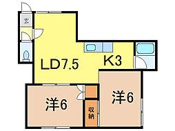 カレントハウス[1階]の間取り