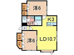 神楽北欧館II 2階2LDKの間取り