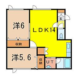 ル・クレアージュ 2階2LDKの間取り