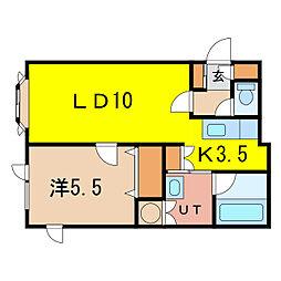 カリオンM 2階1LDKの間取り