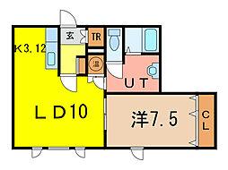 WINDAM B 1階1LDKの間取り