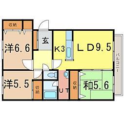 エスティ三番館1号館[3階]の間取り