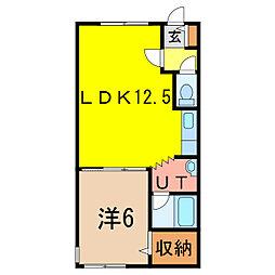 ダイヤハイツ4・西1[2階]の間取り