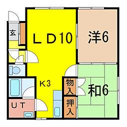 ボンアール 2階2LDKの間取り