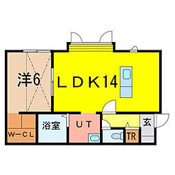 ファーストノート 2階1LDKの間取り