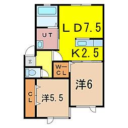 新築豊岡13−3AP 2階2LDKの間取り