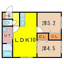 新築)旭川永山 1階2LDKの間取り