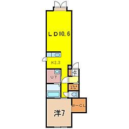 2-17新築MS B 1階1LDKの間取り