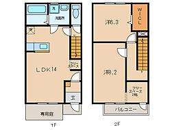 名鉄蒲郡線 西幡豆駅 徒歩10分の賃貸テラスハウス 1階2LDKの間取り