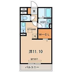 名鉄西尾線 桜町前駅 徒歩9分の賃貸アパート 1階ワンルームの間取り