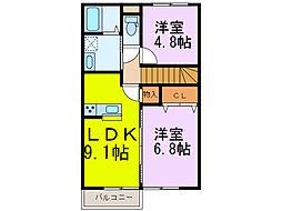 ビアンキ花崎B[2階]の間取り