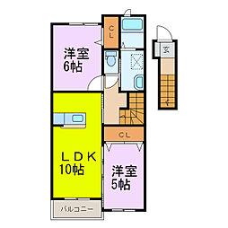 インフィオレ藍[2階]の間取り