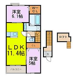 ラディアI[2階]の間取り