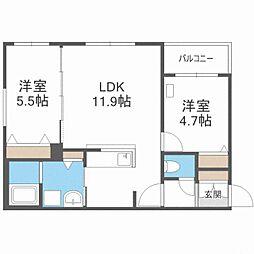 CITY RESIDENCE幌平橋 1階2LDKの間取り