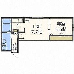 Jentile43 ジェンティーレ43 3階1DKの間取り