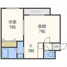 HKKS-ART V. フックスアート5 1階1DKの間取り