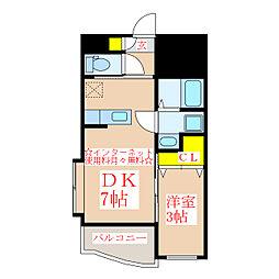ヴェスタ 2階1DKの間取り