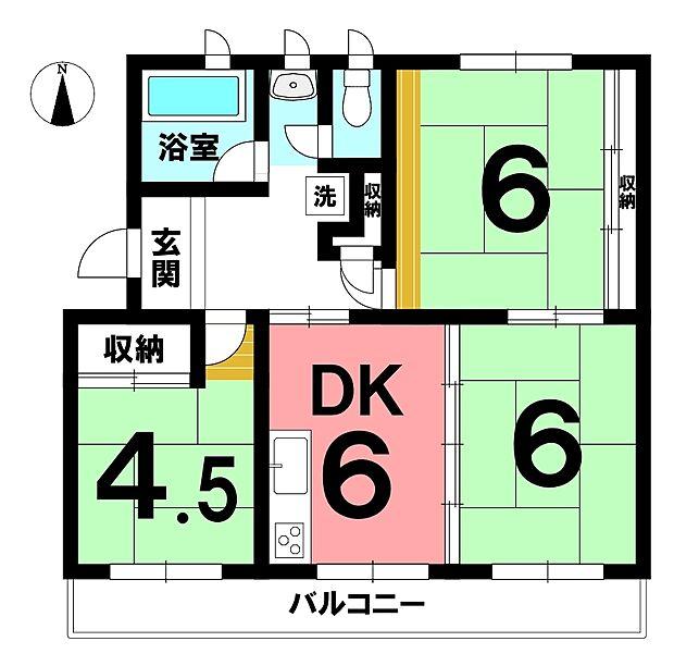江南団地201号棟(3DK) 2階の間取り