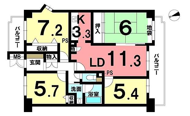 コープ野村江南中央公園(4LDK) 4階の間取り
