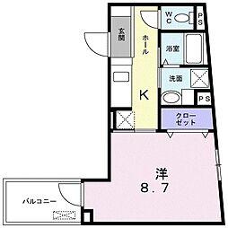 ビレッジ アップ 渋谷 4階1Kの間取り