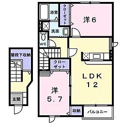 クリオージュ ヒルズ 2階2LDKの間取り