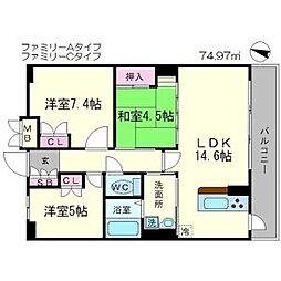 レジデンス桃山台 2階3LDKの間取り
