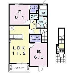 アイメニーエヌケー II 2階2LDKの間取り
