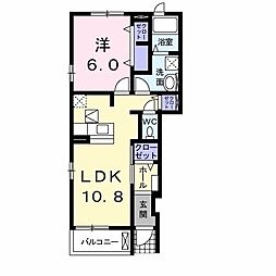 ミドル K・S-II 1階1LDKの間取り
