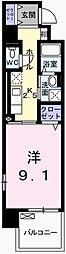 クレール姫路II 3階1Kの間取り