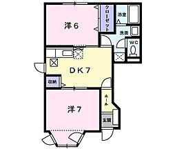 ジョイタカハシV 1階2DKの間取り