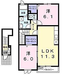 ボナールI 2階2LDKの間取り