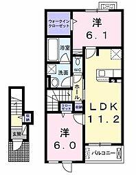 ウミベリー 2階2LDKの間取り