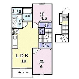 ヴェルドミールA 2階2LDKの間取り