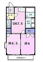 JR仙石線 高城町駅 徒歩8分の賃貸アパート 1階2DKの間取り
