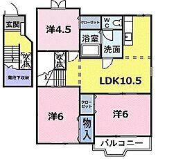 フルールB 2階3LDKの間取り