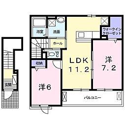 JR山陽本線 西阿知駅 バス10分 船穂公民館下車 徒歩5分の賃貸アパート 2階2LDKの間取り