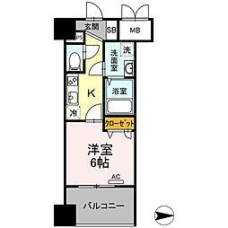 Trio Mare 蔵前(トリオマーレクラマエ) 6階1Kの間取り