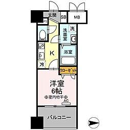 Trio Mare 蔵前(トリオマーレクラマエ) 9階1Kの間取り