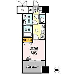 Trio Mare 蔵前(トリオマーレクラマエ) 10階1Kの間取り