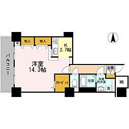 品川シーサイドビュータワー I 26階1Kの間取り