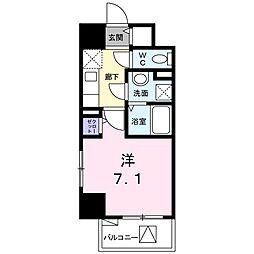 プラシード・アビタシオン 3階1Kの間取り