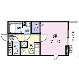 レジデンス鎌倉 1階1Kの間取り