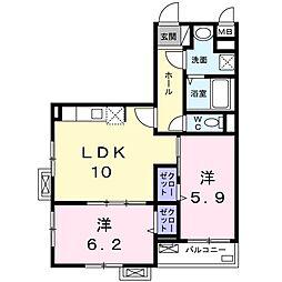 MIYAKO 2階2LDKの間取り