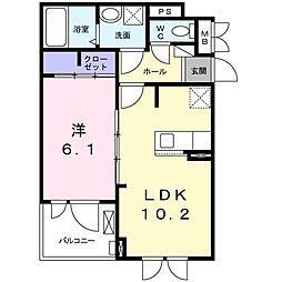JR関西本線 木津駅 徒歩16分の賃貸アパート 2階1LDKの間取り