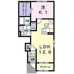 「仮」リヴァーサ須賀川市 1階1LDKの間取り