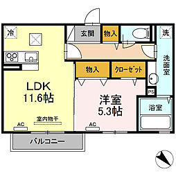 Grand-room朝日ヶ丘II 1階1LDKの間取り