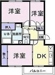グランメール東中田 3階3DKの間取り