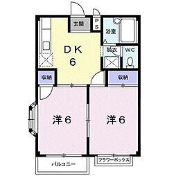 エルディム斉藤 2階2DKの間取り
