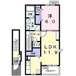 ルピナス・リバ-B 2階1LDKの間取り