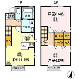Tーroom A 1階2LDKの間取り